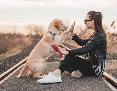 dog and woman connecting on deeper level